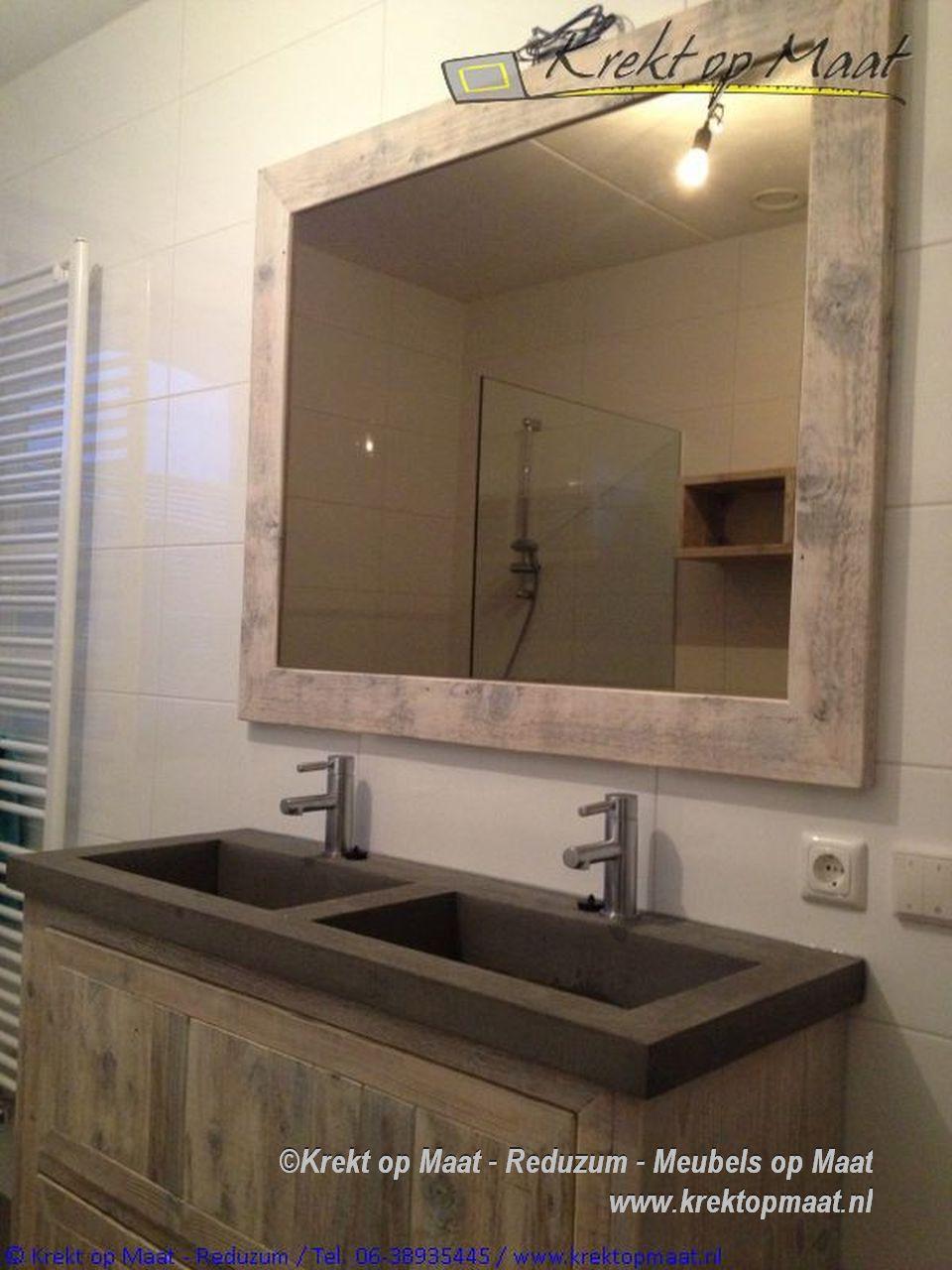 Leemstuc In De Badkamer ~ Krekt op maat Betoncir werkblad spoelbak badkamermeubel steigerhout